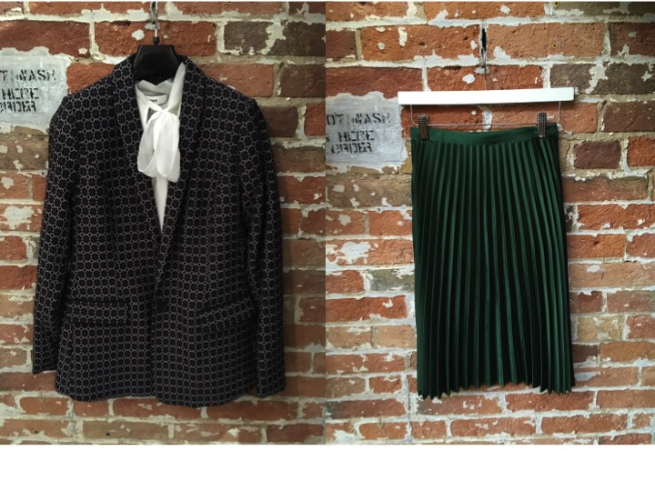 Likely Bow Blouse $235 Maison Scotch Jacquard Blazer $289 Maison Scotch Pleated Skirt $169 ** there's only these two colours in the skirt, and there's only a couple of them left..