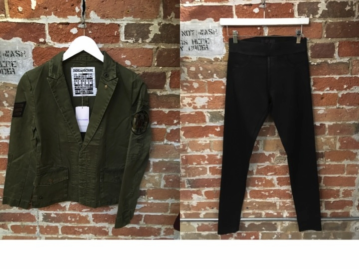 Zadig & Voltaire Military Grunge Jacket $499 James Jeans Glossy Leggings $275