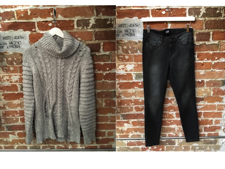 Nana Judy Distressed Turtleneck $139 Paige Verdugo Grey Jeans $298