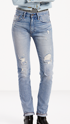505 C Cropped- a mid to low rise that is slim cut with a straighter leg opening of 14 3/4s. Distressed and in a lighter blue, these are the jeans you will be seeing everywhere. Think they're too summery? False! Just layer with thick knits and layers to give it a fall feel.
