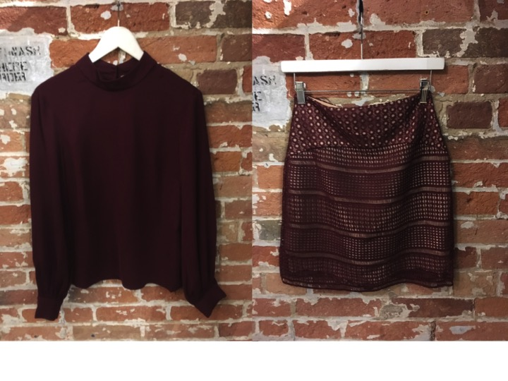 Keepsake Burgundy Blouse $185 Keepsake Lace Skirt $240