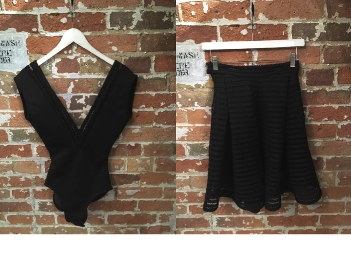 Jesse Rowes Mesh Bodysuit $150 Jesse Rowes Mesh Flare Skirt $200
