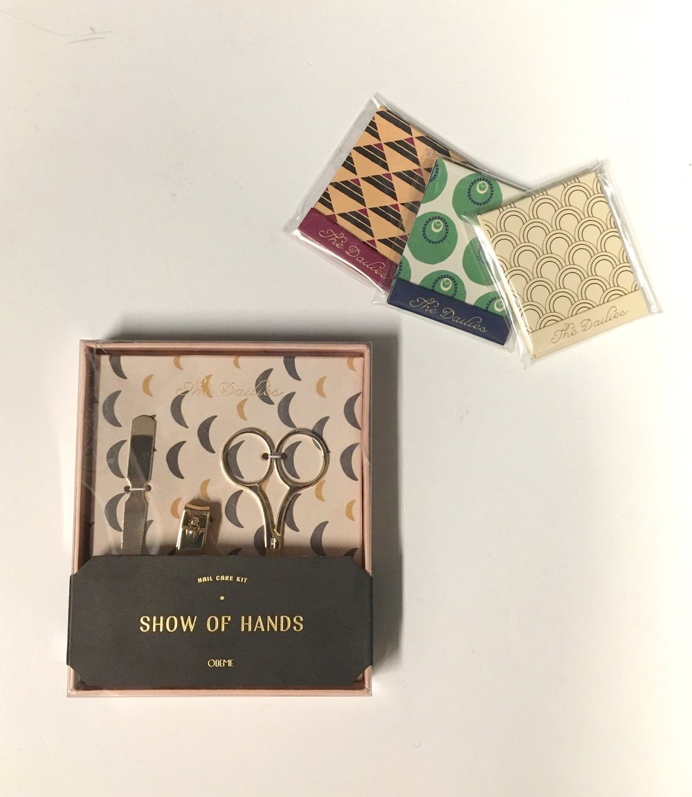 Every girl knows how frustrating it is to not have a nail file when that horrendous moment your nail snags. These pocket sized files are the perfect stocking stuffers. Nail Kit $29 Matchbook Nail Files $12