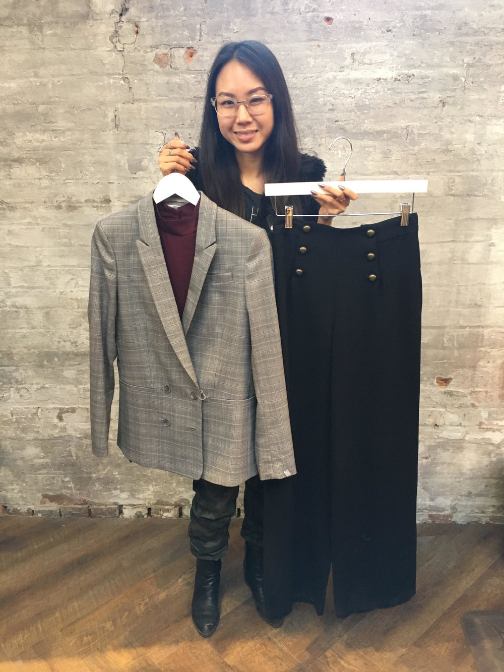 Linda's Pick: Suncoo Wide Leg Pants $126 Tiger of Sweden Blazer $250 Keepsake Blouse $93 Office chic by day but take off the blazer and you're ready for some last minute dinner plans with your man.