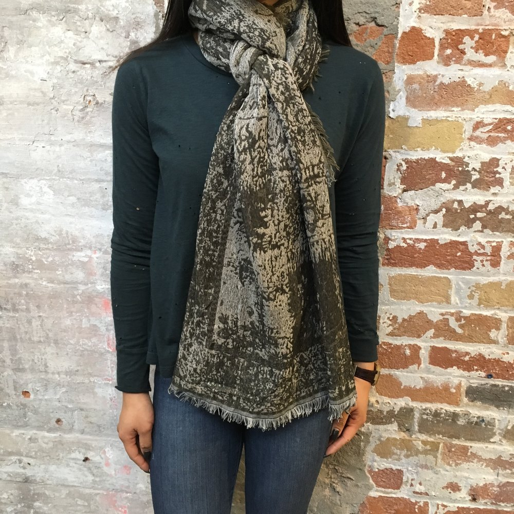 Fold the scarf in half (widthwise) and drape around your shoulders with the loop on one side, and two ends on the other. Take one loose end and pull it through, over and under the scarf loop. Take the second end piece and go under and over the same loop.