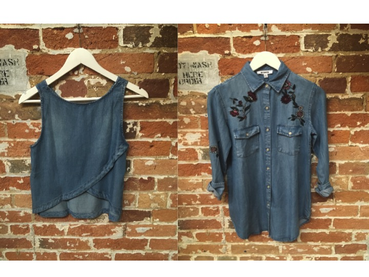 BB Dakota Split Back Denim Tank $78 BB Dakota Embroidered Denim Shirt $128
