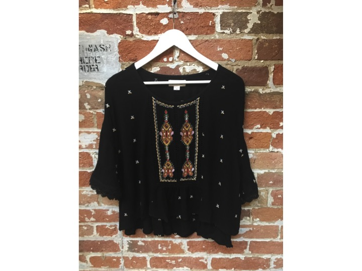 Velvet Embroidered Boho Blouse $265