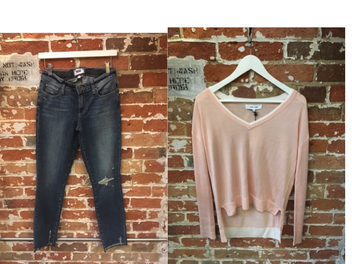 Paige Distressed Jeans $345 John & Jenn Double Layer Sweater $135