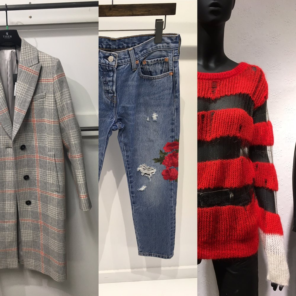 Lots of Checks, Plaid, Embellishment and pops of Red are coming for Fall. Featured: Tiger of Sweden, Levi's & Diesel