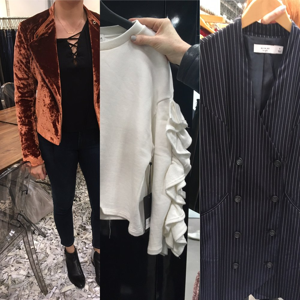 Velvet, Burnt Orange, Ruffled Sleeves, & Stripes will also be sticking around for next season. Featured are James Jeans, and new brands Ali & Jay and J.O.A