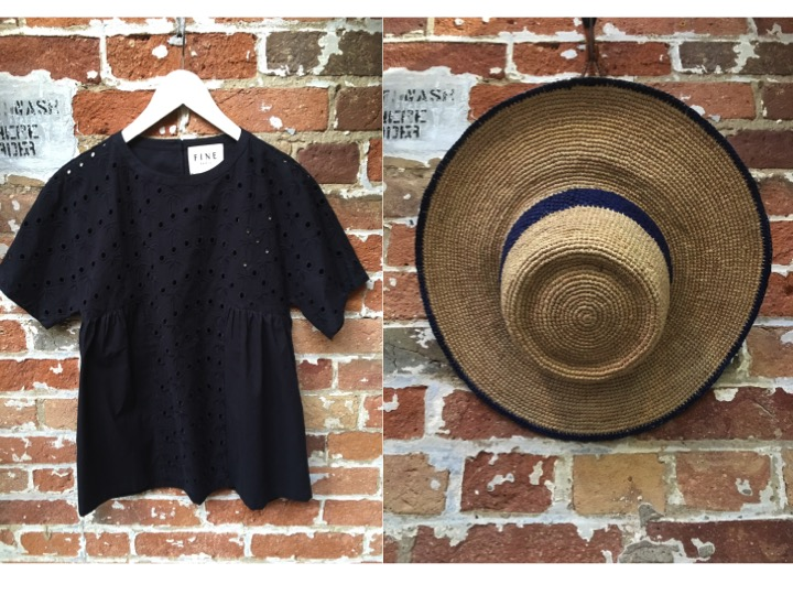 FINE Collection Palm Tree Tee $175 Brixton Straw Hat $55