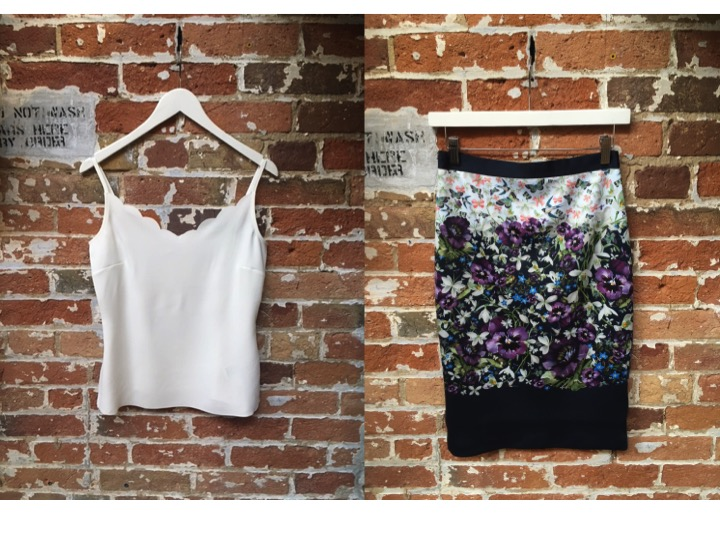 Ted Baker Scalloped Camisole $78 Ted Baker Spring Floral Skirt $219 (Ok we know florals for Spring aren't groundbreaking, but this new print is STUNNING in real life)