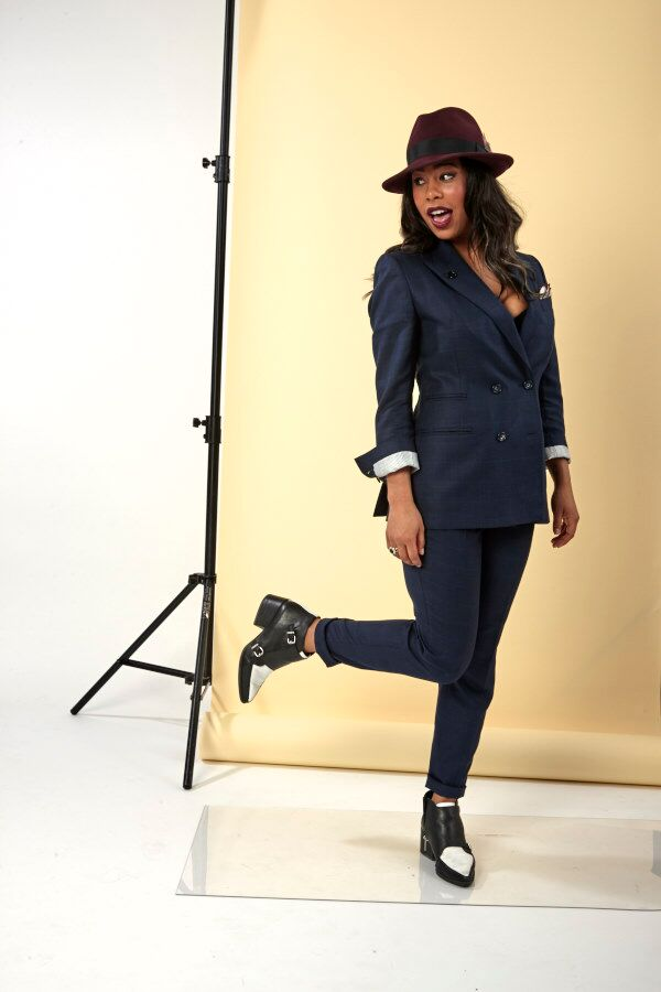 Stylist Tia in her custom made suit
