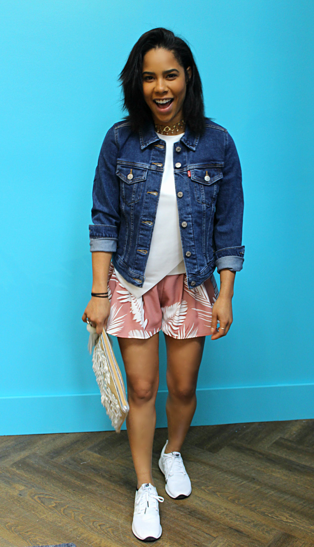 Levi's Denim Jacket $108 Ted Baker Crop Top $219 C/meo Palm Shorts $225 New Balance Sneakers $120 The 2Bandits Choker $105 Star Mela Clutch $197