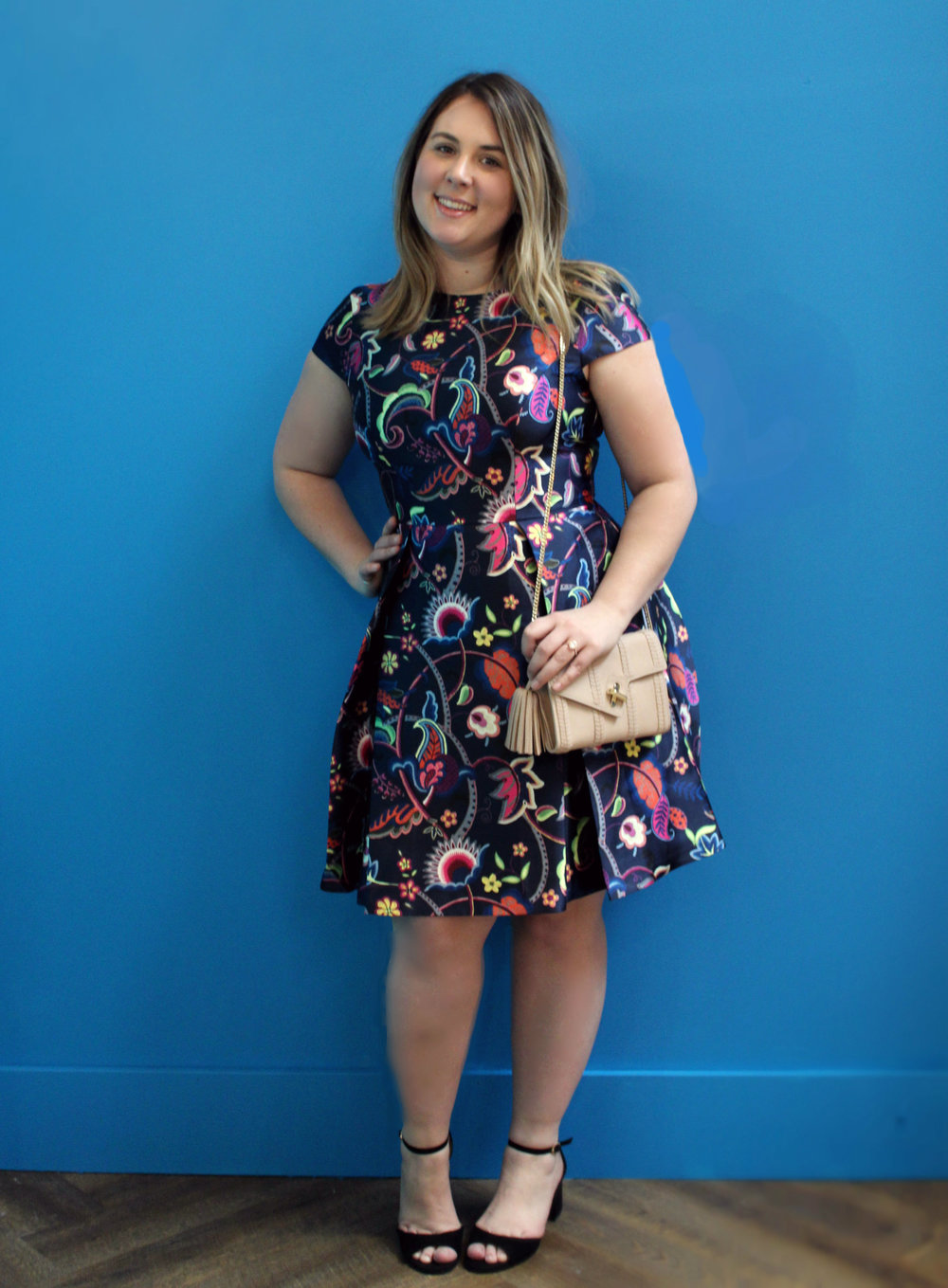 Ted Baker Paisley Skater Dress $395 Ela Leather Clutch $350 Sam Edelman Heels $175