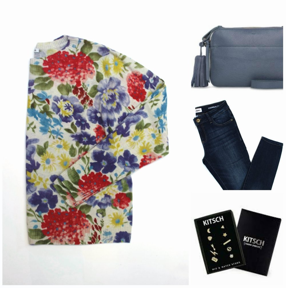 Autumn Cashmere Floral Cashmere Sweater $395 Ela Bloom Bag $350 DL1961 Margaux Jeans $265 Kitsch Earring Combo Pack $35