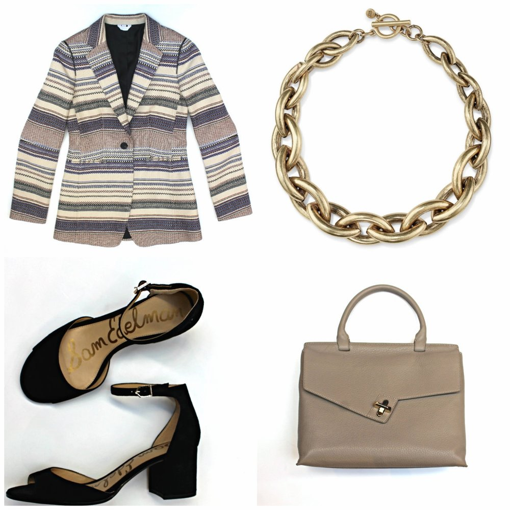 Sosken Blazer $395 Jenny Bird Sloan Collar $145 Sam Edelman Susie Heels $160 Ela Leather Lady Bag $485