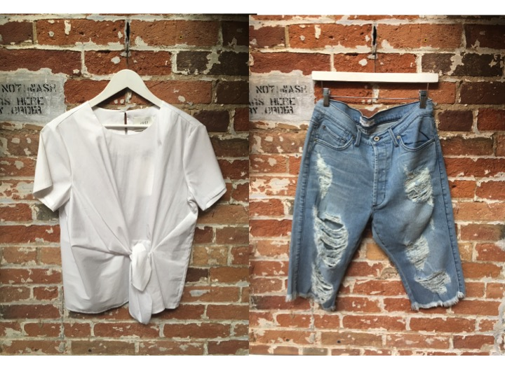 Just Female Tie Top $128 James Jeans Chopper Bermuda Short $275