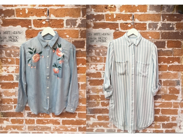 Rails Embroidered Denim Shirt $270 Rails Striped Tunic Dress $245