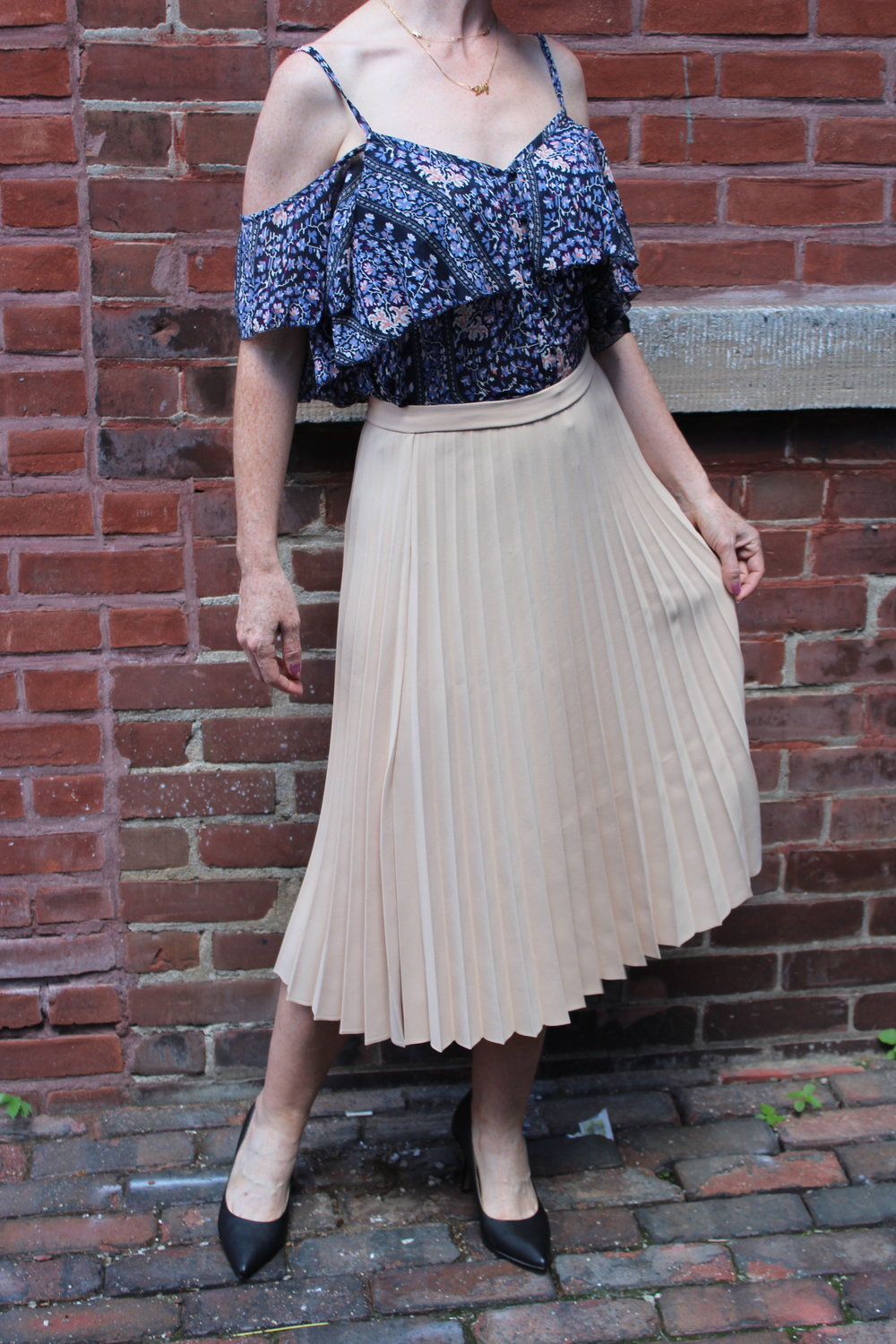 Paige off the shoulder top was $275/ Now $138 Suncoo Midi Skirt was $165/ Now $116 Tiger of Sweden Heels were $279/ Now $175