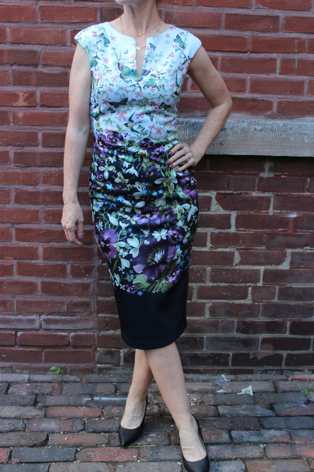 Parker silk dress was $468/ Now $328                               Ted Baker floral dress was $349/ Now $245