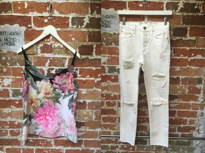 Ted Baker Scalloped Tank $105 GRLFRND White Jeans $328
