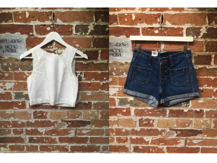 Tiger of Sweden Crop Top $169 Levi's Orange Tab Shorts $70
