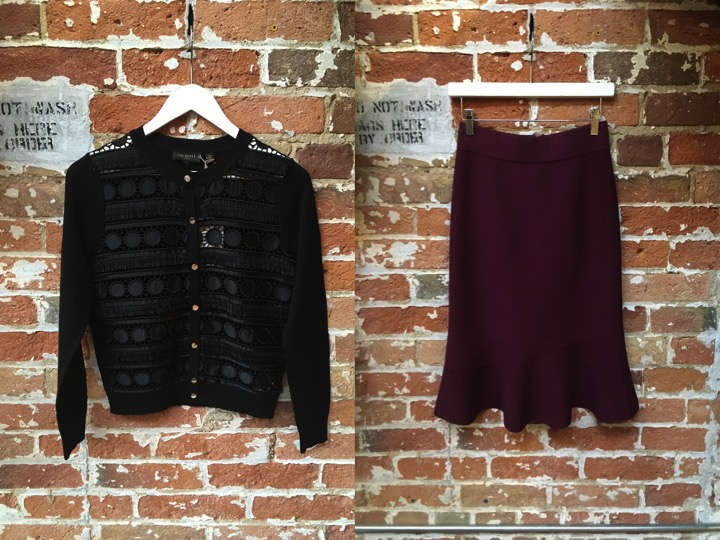 Ted Baker Lace Cardigan $269 Ted Baker Frill Knit Skirt $269