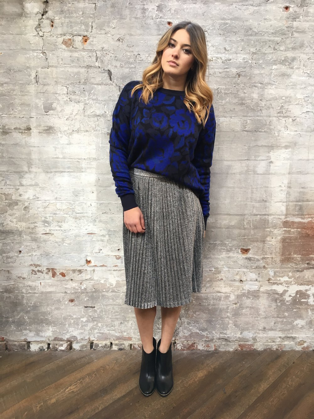 John & Jenn Louisa Dark Floral Sweater $165 Just Female Pleated Midi Skirt $130 Ted Baker Azalia Boots $325  This outfit is easy and comfortable but still hella chic
