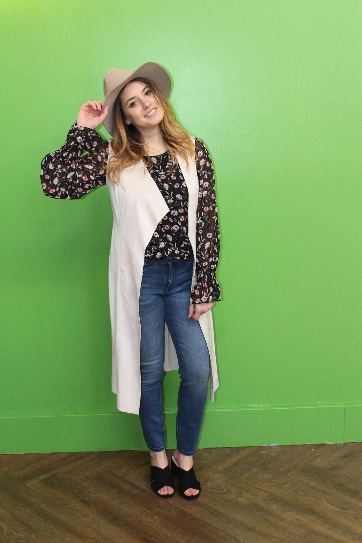 Brixton Hat $80 Sanctuary Blouse $125 Iris Setlakwe Vest $265 DL1961 Margaux Jeans $250 Sam Edelman Sandals $65
