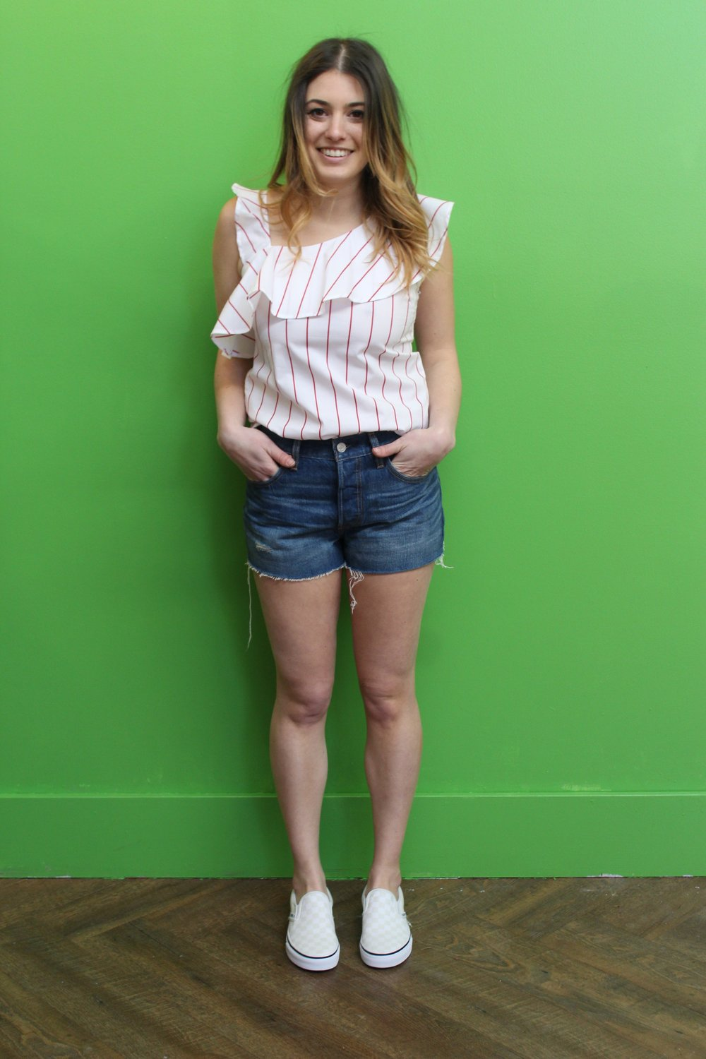 Ecru Striped One Shoulder Top $185 Levi's Shorts $80 Vans Checkerboard Slide Ons $60