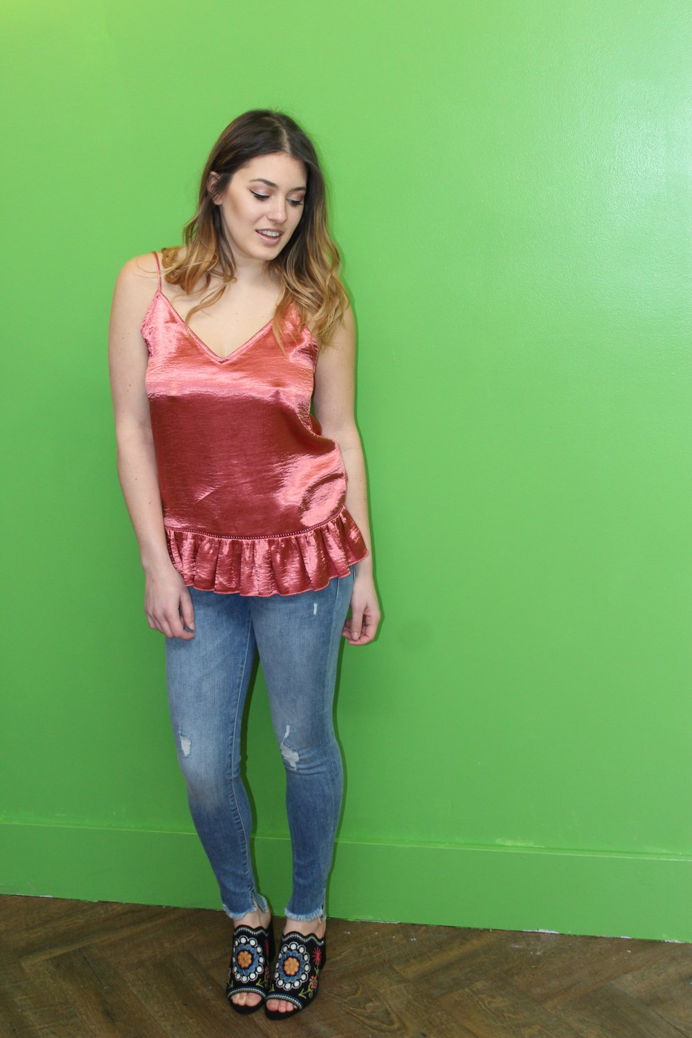 Suncoo Satin Ruffle Camisole $120 DL1961 Margaux Jeans $250 Sam Edelman Embroidered Mules $185