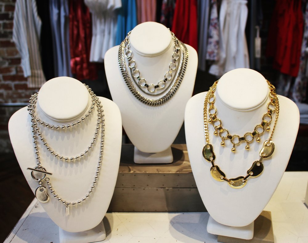 Classy Mom:  Biko accessories have something for everyone! All earrings (other photo) are super light, 14k gold or Rhodium plated with hypo allergenic posts. $65-$110 Same goes for her cool necklaces, they are perfect for layering with any neckline. $100-$150