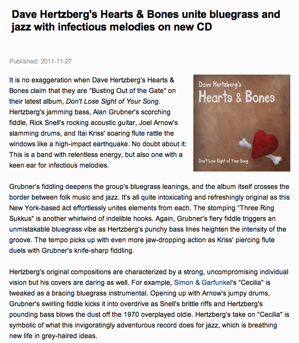 Read All About Jazz's review of Don't Lose Sight of Your Song!