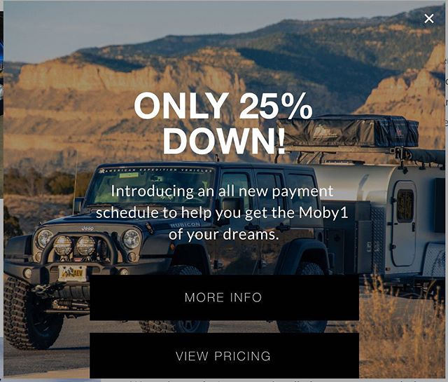 Introducing 25% down payments! Payment schedule for all Moby1 trailers will now be 25-50-25. Check our website for more information and contact us to order. ——————————————// #moby1 #teardroptrailer #rooftoptent #jeep #jeepwrangler #jeepcamping #ram #toyotatacoma #toyota #toyota4runner #overland #sale #25 #offroadtrailer #offroad