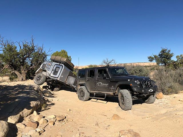 You can see how well the Max Coupler hitch and our suspension system work together to allow angles like this. You can take your Moby1 anywhere your vehicle will go! ——————————————— #jeep #wrangler #jk #jku #jkusquad #moby1 #maxcoupler #offroad #offroadtrailer #adventuremobile #sanrafael #utahphotographer #jeepcamping #campingtrailer #jeeptrailer #jeepcamping #overland #overlanding #aevconversions @aevconversions @jeep @aevdave