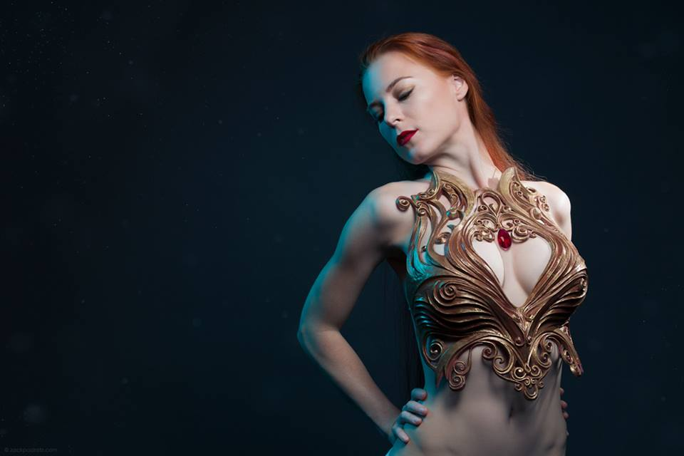 Jessica Dru modeling the chest piece she designed and sculpted. Photo by  Zack Podratz Photography .