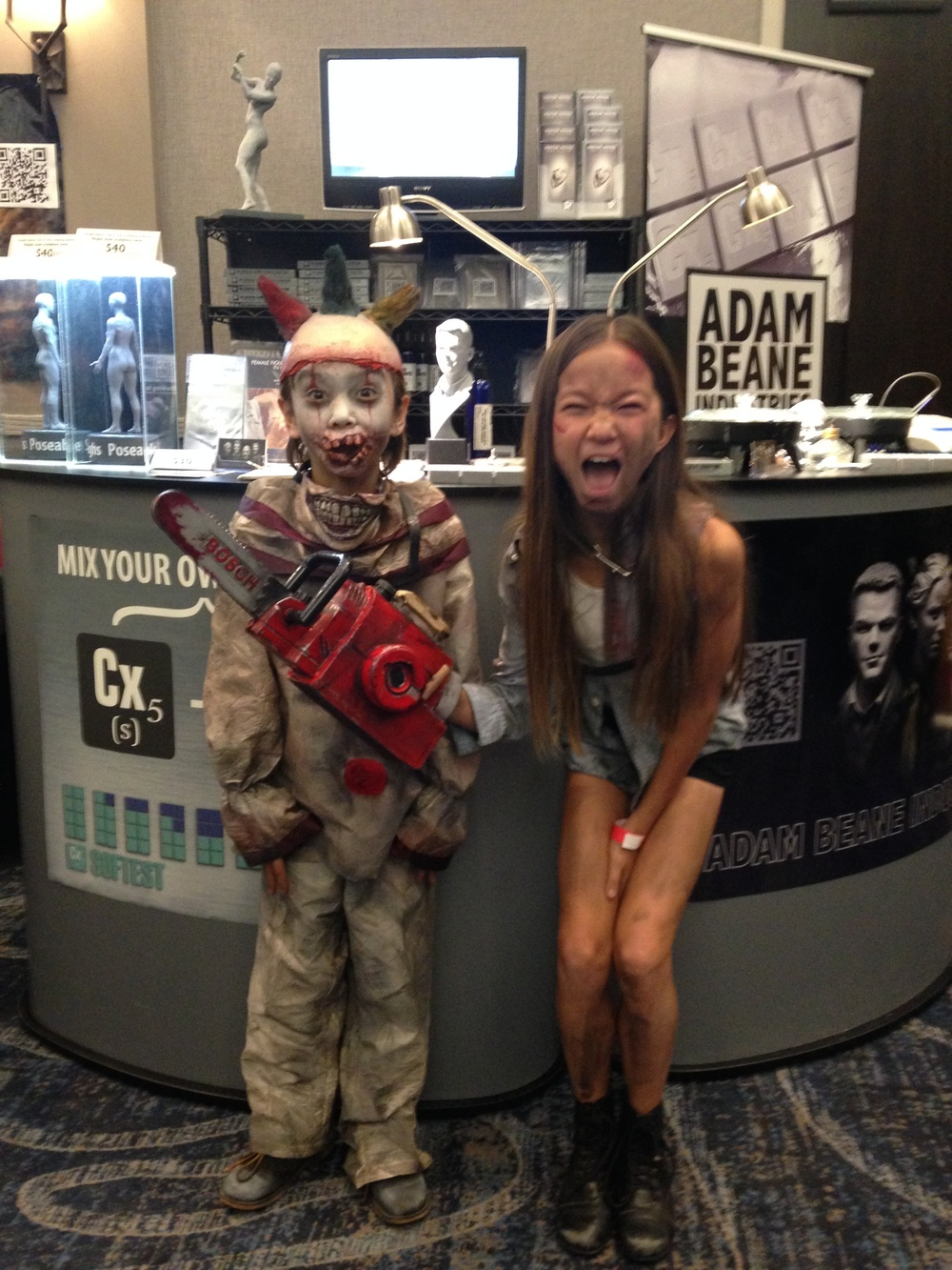 Ash(ley) and her zombie brother stopped by our booth