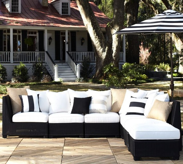 White outdoor seating for endless summer fun Via Pottery Barn