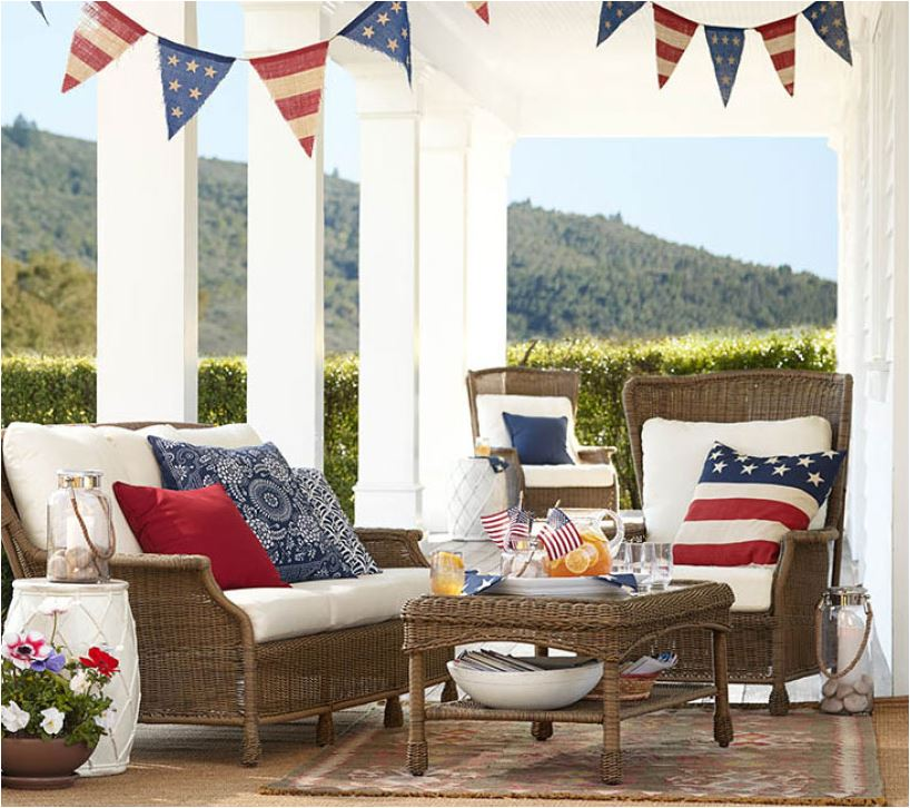 July 4th porch decor Via Pottery Barn