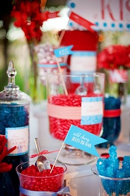 Red, White and Blue jelly beans and candy in glass jars.