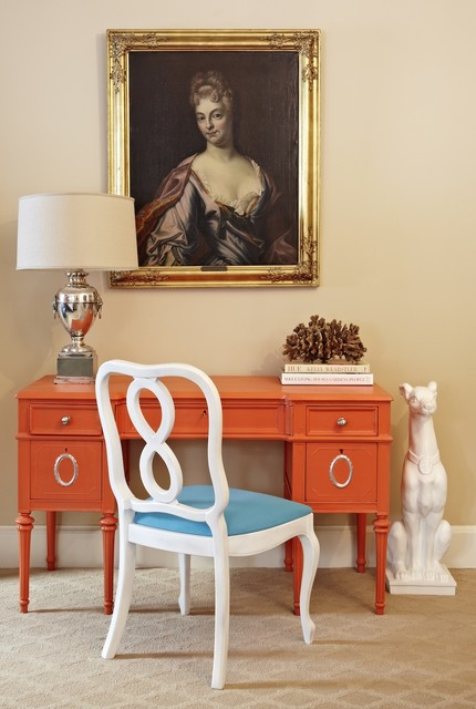 The vintage desk, painted orange.   A combination of colored and chicly mixed period pieces via Jill Sorensen