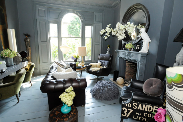 Close-up photos of the living room show off the chic mixture of styles, textures and personalities