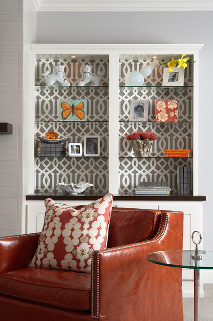 Wallpaper as a backdrop highlights your collections and keepsakes VIA Martha O'Hara Interiors