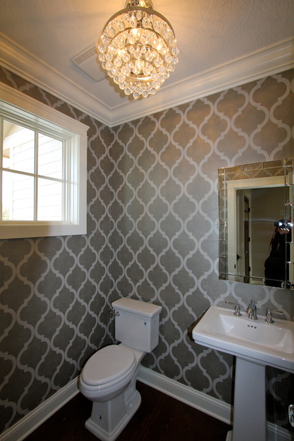 Stenciling is an alternative to pricy designer's wallpaper!!  Via Bohland Homes