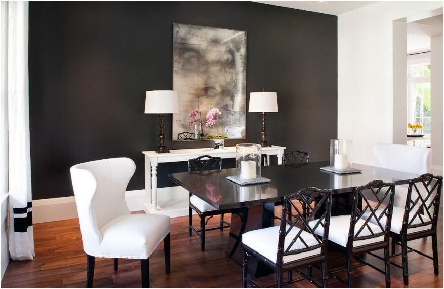Modern dining rooms turn edgy, yet elegant when dark grey is mixed with vivid whites and beautiful woods.
