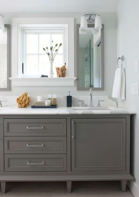 Grey cabinet in bath with white walls via Rachel Reider
