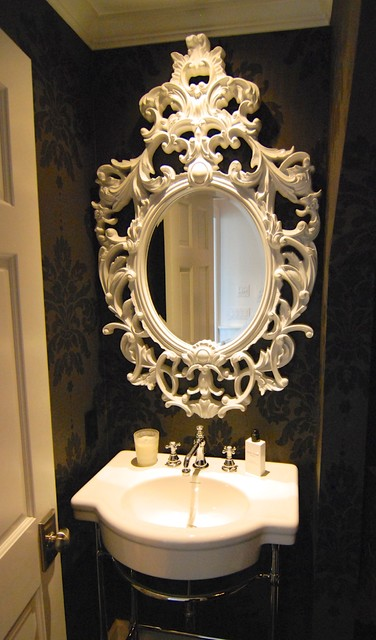 Powder rooms can be the jewel of the home.  Via Kristi Spouse Interiors