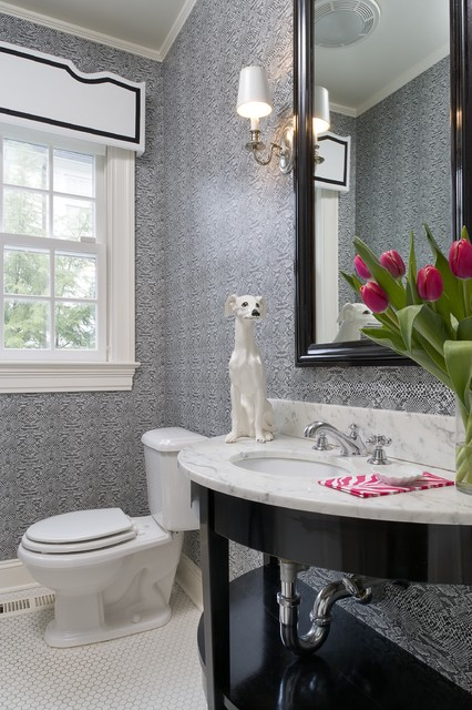 What a smashing color palette for a guest powder room!  Via Tiffany Eastman Design.