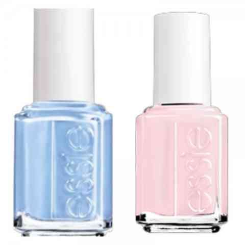 Essie Rose Quartz and Serenity nail polish.